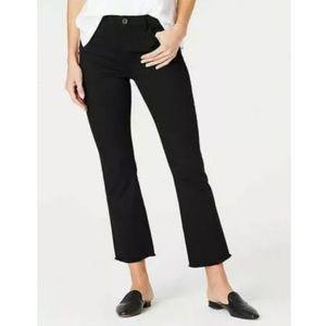 J.Jill Black Crop Fray Hem Kick Flare Ankle Jeans